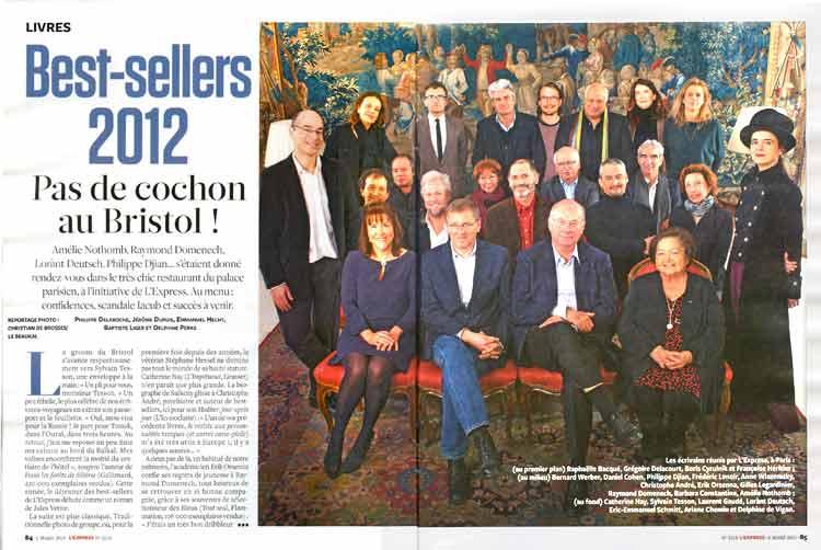 Jeudi 28 février au Bristol : les auteurs francophones les plus lus de l'année 2012