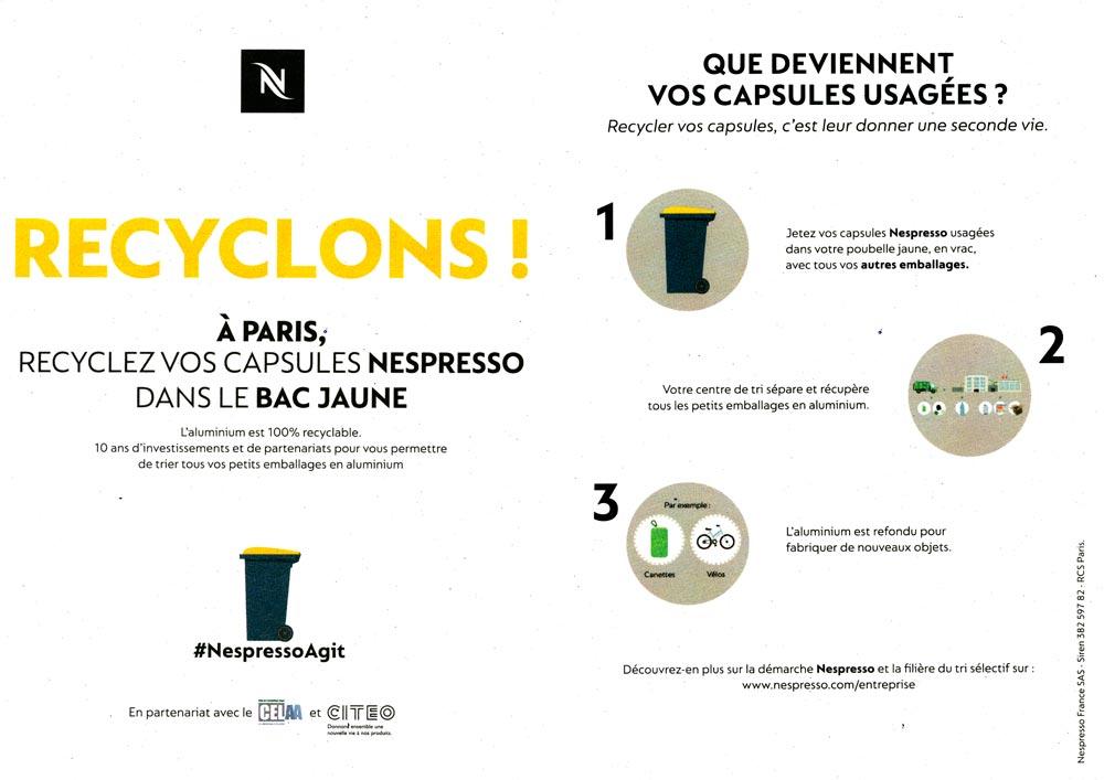 Traitement des capsules Nespresso à Paris